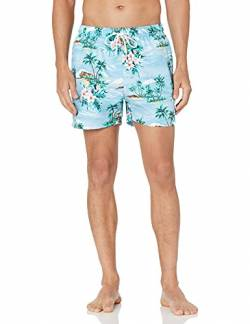"28 Palms 4.5"" Inseam Tropical Hawaiian Print Swim Trunk Badehose, Light Blue Scenic, Large von 28 Palms"