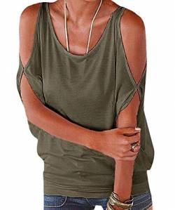365-Shopping® Japan Style von Damen Top T - Shirt Bluse Longshirt Tunika Tanktop Oberteil (Asian L, Armeegrün) von 365-Shopping