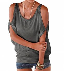365-Shopping® Japan Style von Damen Top T - Shirt Bluse Longshirt Tunika Tanktop Oberteil (Asian L, Grau) von 365-Shopping