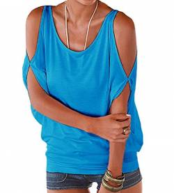 365-Shopping® Japan Style von Damen Top T - Shirt Bluse Longshirt Tunika Tanktop Oberteil (Asian M, Blau) von 365-Shopping