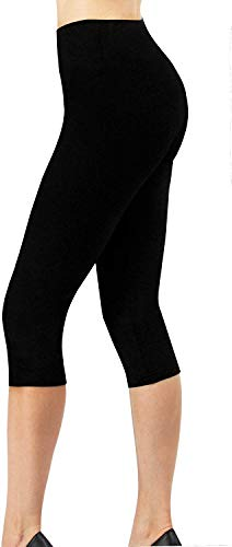 4How Sport Leggings Damen 3/4 Capri Leggins Baumwollleggings Sporthose Laufhose blickdicht Yoga Pants Tights Strumpfhosen Damen Basic Leggins Schwarz M von 4How