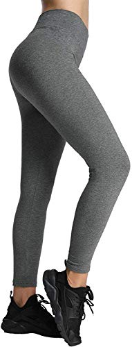 4How Sport Leggings Damen Lang Baumwollleggings Grau blickdicht Jogginghose Frauen Sport Tights Sporthose Fitness Yoga Pants S(34/36) von 4How