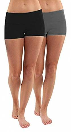 4How 2er Pack Sport Shorts Damen kurz eng Tights Radlerhose Baumwolle Sporthose Fitness Yoga Cycling Shorts Hotpants Blickdicht Schwarz+Grau S von 4How