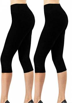 4How Damen Jogginghose 3/4 Legging Schwarz+Schwarz Running Training Leggins,2er Pack M von 4How