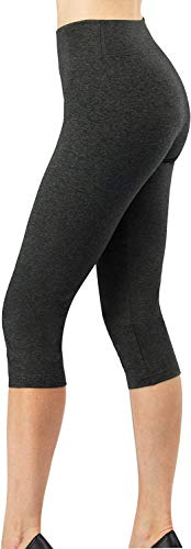 4How Baumwollleggings 3/4 Damen Hoher Bund Caprileggings Blickdicht Yoga Sport Leggings Joggingshose Dunkelgrau Cropped Basic Legging Tights XS von 4How