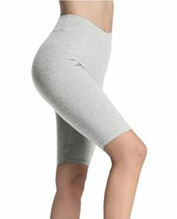 4How Damen Shorts Kurze Leggings Tights Radlerhose Knielang Baumwolle blickdichte Sporthose Jogginghose Laufshorts Fitness Yoga Hose Hellgrau L von 4How