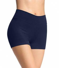 4How Damen Shorts Sommer Unterrock kurz eng Sport Shorts Sporthose Radlerhose Fitness Pole Yoga Shorts Tanzen Hotpants Volleyball Shorts Blau L von 4How