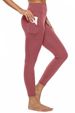 4How Damen Sport Leggings mit Handytaschen High Waist Fitness Yogahose Lang Blickdicht Sporthose Jogginghose,Dusty Rose,M von 4How