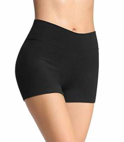 4How Damen Tights Shorts Sport Kurze Hosen Laufshorts Fitness Yoga Leggings Sportshorts Hotpants Schwarz L von 4How