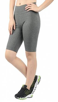 4How Kurze Sporthose Laufhose Damen Sportshorts 1/2 Stretch kurz Leggings Grau Radlerhose Fitness Joggings Biker Radler Running Fahrrad Shorts, XL von 4How