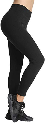 4How Yoga Leggins Damen Schwarz blickdicht Baumwollleggings Basic Leggings Winter für Frauen Jogginghose Strumpfhosen Sport Tights XL(42/44) von 4How
