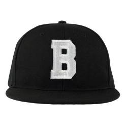 4sold ABC Letter Snapback Cap in black/White with letters A to Z Schwarz (B) von 4sold