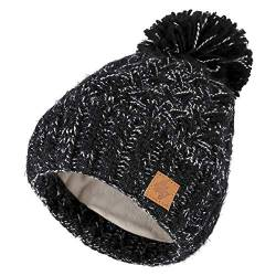 4sold Herren Damen Wurm Winter Style Beanie Strickmütze Mütze mit Fellbommel Bommelmütze Hat Gestrickte Pudelmütze Plain Ski Pom Wooly with Full Cosy Fleece-Futter (Black White) von 4sold