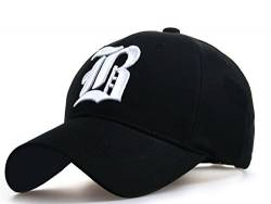 4sold Unisex Damen Herren Baseball Cap Caps Gothic Letter B Hüte Mützen Snap Back Hat Hats Fanny (B Black White) von 4sold