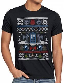A.N.T. Time and Space Ugly Sweater Herren T-Shirt zeitreise Timelord notrufzelle x-Mas Pulli Weihnachtsbaum, Größe:L von A.N.T. Another Nerd T-Shirt