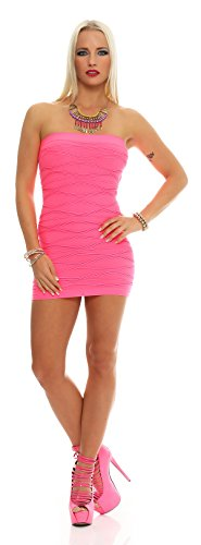 AE Damen Kleid Dress Bandeaukleid Bandeau Trägerlos Club Party Cocktailkleid Kurz Minikleid Pink L von AE