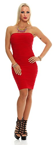 AE Damen Kleid Dress Bandeaukleid Bandeau Trägerlos Club Party Cocktailkleid Lang Gr. S/M/L/XL, 36,38,40,42 Rot XL von AE