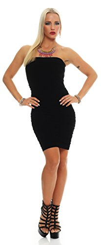 AE Damen Kleid Dress Bandeaukleid Bandeau Trägerlos Club Party Cocktailkleid Lang Gr. S/M/L/XL, 36,38,40,42 Schwarz XL von AE