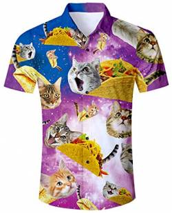 ALISISTER Hawaiihemd Herren 3D Pizza Katze Gedruckt Kurzärmliges Hemd Tropical Button Down Strandhemd Aloha Summer Hawaii Regular Slim Fit Shirts Bunt Hemden M von ALISISTER