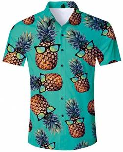 ALISISTER Hawaiihemd Herren Button Down Kurzärmliges Ananas Hemd Muster Funky Hawaii Shirts Beiläufig Strand Aloha Party Urlaub Hemden Regular Slim Fit XL von ALISISTER