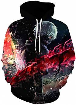 AMOMA Damen Digitaldruck Kapuzenpullover Tops Unisex Hoodie Pullover Hooded Sweatshirt(Small/Medium,Tokyo Ghoul) von AMOMA