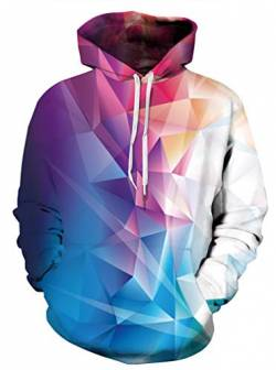 AMOMA Jungen Digitaldruck Kapuzenpullover Tops Fashion Hoodie Pullover Hooded Sweatshirt(Large/X-Large,Color Triangle) von AMOMA