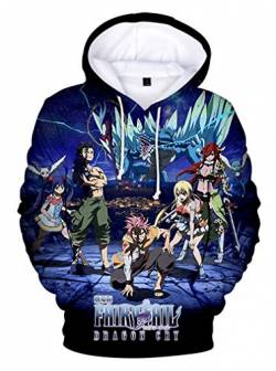 AMOMA Unisex Anime Fairy Tail Hoodie 3D Digitaldruck Natsu Lucy Erza Cosplay Kapuzenpullover(L,Color01) von AMOMA