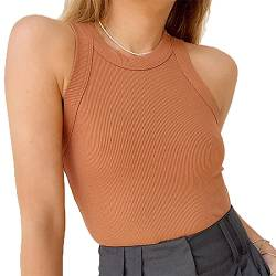 ANYFIT WEAR Damen Tank Top Sexy Sommer Strickshirts Elegant Strickoberteil Top Ärmellose Shirt Slim Fit Oberteile Round Neck Ribbed Camisole,Kaffee,L von ANYFIT WEAR