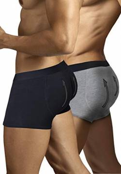 ARIUS Pack 2 Boxer-Unterhose mit Füllung in der hinteren - erweitert das Volumen und die Größe vom Gesäß - Men's Padded Buttocks - Men's Shapewear - Push UP Herren (XL) von ARIUS