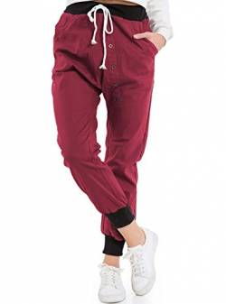 ASKSA Damen Jogginghose mit Knopfleiste Haremshose Frauen Boyfriend Chino Stoffhose Sweatpants Baggy Freizeithose Trainingshose Loose Fit Jogger (Weinrot,Small) von ASKSA