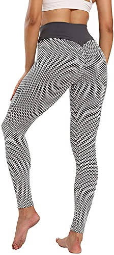 ASKSA Damen Leggings Honeycomb Sporthose Anti Cellulite High Waist Yogahosen Stretch Push Up Workout Heiße Hose Lange Sport Yoga Fitness Butt Lift Jogginghose(Grau,M) von ASKSA