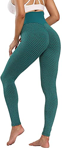 ASKSA Damen Leggings Honeycomb Sporthose Anti Cellulite High Waist Yogahosen Stretch Push Up Workout Heiße Hose Lange Sport Yoga Fitness Butt Lift Jogginghose(Grün,S) von ASKSA