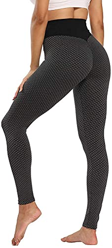 ASKSA Damen Leggings Honeycomb Sporthose Anti Cellulite High Waist Yogahosen Stretch Push Up Workout Heiße Hose Lange Sport Yoga Fitness Butt Lift Jogginghose(Schwarz,S) von ASKSA
