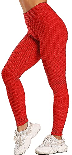 ASKSA Damen Sport Leggings Yoga Fitness Hose Lange Sporthose Stretch Workout Fitness Anti-Cellulite Butt Lift Hosenanzug Trainingsanzug Jogginghose (Rot, M) von ASKSA
