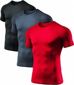 ATHLIO 1 oder 3 Pack Herren Cool Dry Kurzarm Kompressionsshirts Sport Baselayer T-Shirts Tops Athletic Workout Shirt, Herren Damen Jungen Mädchen, 3er-Pack (BTS02) - Schwarz / Kohle / Rot, Large von ATHLIO