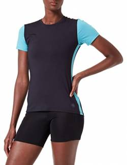 Amazon Marke - AURIQUE Damen-Sport-Top mit Seitenstreifen, Blau (Deep Well/Maui Blue), 34, Label:XS von AURIQUE