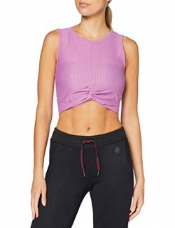 Amazon Marke - AURIQUE Damen kurzes Sport-Top aus Mesh, Lila (Maulbeere), 36, Label:S von AURIQUE