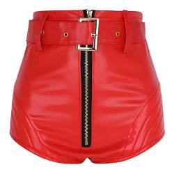 Agoky Damen Mädchen Wet Look Hot Pants Kurze Hose PU Leder Shorts Hohe Taille sexy Booty Gogo Tanz Bottoms Clubwear Rot L von Agoky