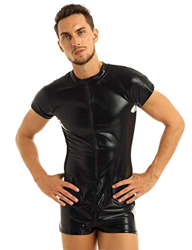 YiZYiF Herren Metallic Body Wetlook Overall Bodysuit Gl/änzend Jumpsuit M/änner Unterhemd Langarm Ganzk/örper Catsuit Clubwear Reizw/äsche
