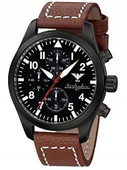 Airleader Black Steel Chronograph KHS.AIRBSC.LB5 Edelstahl IP-beschichtet schwarz, Büffel-Lederband braun, KHS Tactical Watch, Einsatzuhr, Fliegeruhr von Airleader Black Steel Chronograph