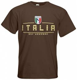 Italien Italia T-Shirt Fanshirt Nation EM-2021 Chocolate L von AkyTEX