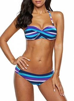 Aleumdr Bikini Set Push up Twist Damen Bademode Bikini Oberteil high Waist, Hellblau, Small(EU34-36) von Aleumdr
