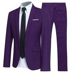 Allthemen Herren 2-Teilig Slim FIT Business Anzug Violett Small von Allthemen