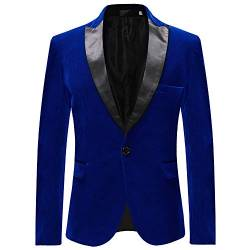 Allthemen Sakko Herren in Samt Optik Regular Fit Blazer Freizeit Smokingjacke für Hochzeit Blau Medium von Allthemen