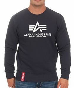 Alpha Industries Herren Pullover Basic blau XL von Alpha Industries