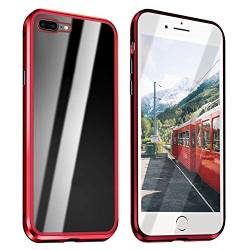 Alsoar Kompatibel für iPhone 8 Plus Gehärtetes Glas Rückseite Transparent Magnetische Adsorption Hülle,Ultra Dünn Metallrahmen Anti-Scratch Stoßfest 360° Cover Handyhülle für iPhone 7 Plus (Rot) von Alsoar
