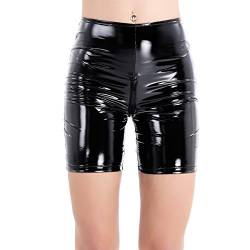 Alvivi Frauen Glänzend Lackleder High Waist Shorts mit Reißverschluss Damen Lingerie Metallic Shorts Wet-Look Shorts Hotpants GOGO Clubwear Schwarz Medium von Alvivi