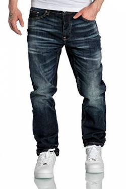 Amaci&Sons Herren Jeans Regular Straight Fit Denim Hose Destroyed 7984 Dunkelblau W33/L30 von Amaci&Sons