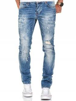 Amaci&Sons Herren Strech Destroyed Slim Fit Denim Jeans Hose 7500 Hellblau W29/L30 von Amaci&Sons
