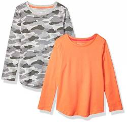 Amazon Essentials Girls' 2-Pack Long-Sleeve Tees fashion-t-shirts, Grey Camo/Coral, 4T von Amazon Essentials